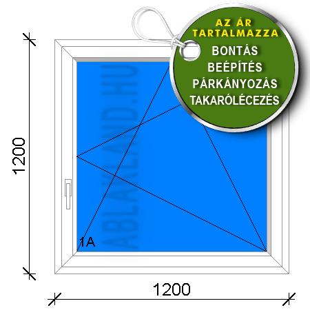 120x120 Műanyag ablak, Egyszárnyú, Bukó/Nyíló, Orosz panelhez