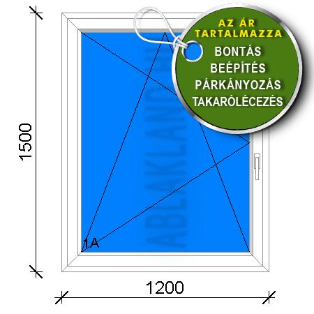 120x150 Műanyag ablak, Egyszárnyú, Bukó/Nyíló, Csapos panelhez