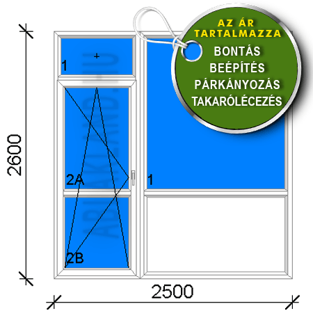 250x260 Műanyag Erkélyajtó és Ablak, Bukó/Nyíló+Fix, Dán panelhez