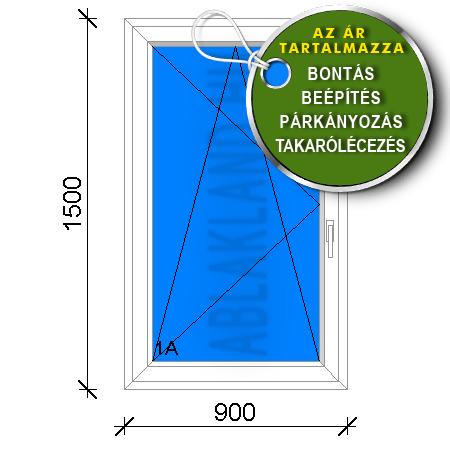 90x150 Műanyag ablak, Egyszárnyú, Bukó/Nyíló, Csapos panelhez