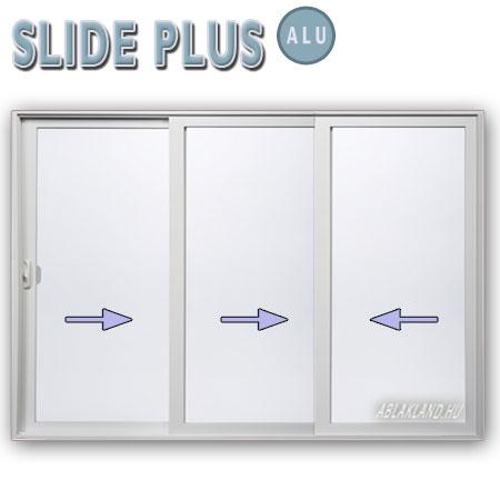 400x240 Alu Tolóajtó, Háromszárnyú, Slide Plus