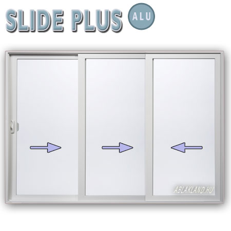 350x220 Alu Tolóajtó, Háromszárnyú, Slide Plus
