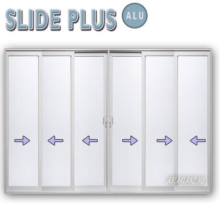 480x210 Alu Tolóajtó, Hatszárnyú, Középről nyíló, Slide Plus