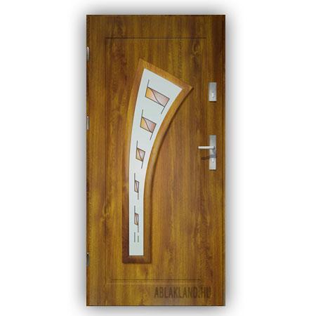 Biztonsági Ajtó, Aranytölgy, Mintás üveges, Kültéri, SteelSafe Premium 05
