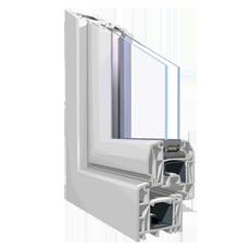 120x70 Műanyag ablak, Háromszárnyú, Nyíló+Ablaksz. Fix+B/NY, Cast.E