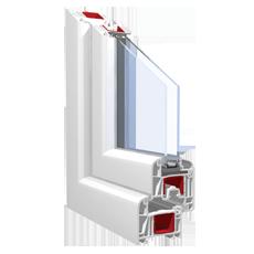 120x120 Műanyag ablak, Kétszárnyú, Bukó/Nyíló+Nyíló, Force