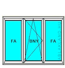 130x80 Műanyag ablak, Háromszárnyú, Ablaksz. Fix+B/NY+Ablaksz. Fix, Neo