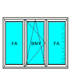 250x210 Műanyag ablak vagy ajtó, Háromszárnyú, Ablaksz. Fix+B/NY+Ablaksz. Fix, Neo