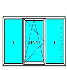 100x120 Műanyag ablak, Háromszárnyú, Fix+Bukó/Nyíló+Fix , Cast.C
