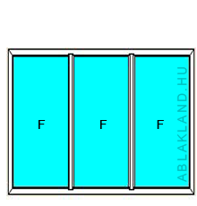 220x210 Műanyag ablak vagy ajtó, Háromszárnyú, Fix+Fix+Fix, Neo