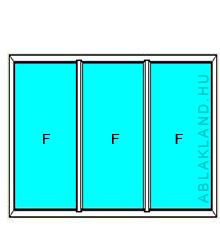 250x190 Műanyag ablak vagy ajtó, Háromszárnyú, Fix+Fix+Fix, Neo