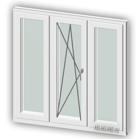120x130 Műanyag ablak, Háromszárnyú, Ablaksz. Fix+B/NY+Ablaksz. Fix, Neo