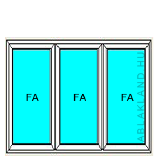150x210 Műanyag ablak vagy ajtó, Háromszárnyú, Ablaksz. Fix+Fix+Fix, Cast.C