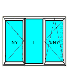 140x230 Műanyag ablak vagy ajtó, Háromszárnyú, Nyíló+Fix+B/Ny, Cast.E