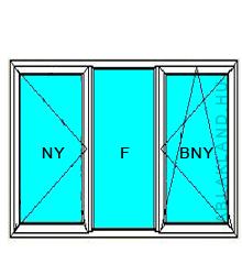 130x80 Műanyag ablak, Háromszárnyú, Nyíló+Fix+B/Ny, Force