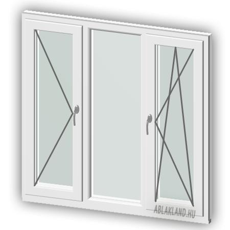 110x160 Műanyag ablak, Háromszárnyú, Nyíló+Fix+B/Ny, Cast.E