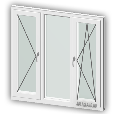 320x190 Műanyag ablak vagy ajtó, Háromszárnyú, Nyíló+Fix+B/Ny, Neo