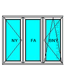 140x230 Műanyag ablak vagy ajtó, Háromszárnyú, Nyíló+Középen Felnyíló NY+B/NY, Neo