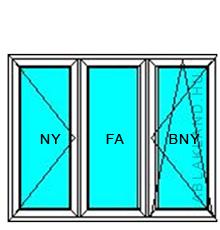 130x220 Műanyag ablak vagy ajtó, Háromszárnyú, Nyíló+Középen Felnyíló NY+B/NY, Neo