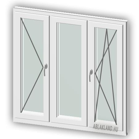 120x230 Műanyag ablak vagy ajtó, Háromszárnyú, Nyíló+Középen Felnyíló NY+B/NY, Neo