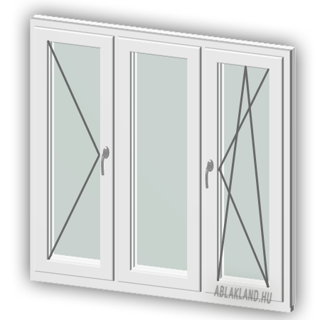 130x240 Műanyag ablak vagy ajtó, Háromszárnyú, Nyíló+Középen Felnyíló NY+B/NY, Neo