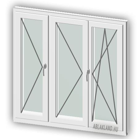 120x130 Műanyag ablak, Háromszárnyú, Nyíló+Középen Felnyíló NY+B/NY, Neo