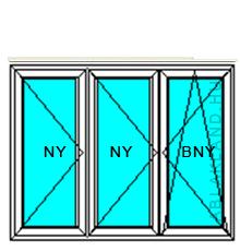 130x230 Műanyag ablak vagy ajtó, Háromszárnyú, Nyíló+Nyíló+Bukó/Nyíló, Neo