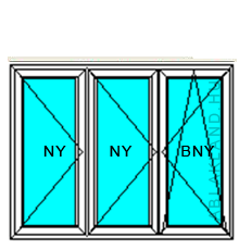 260x100 Műanyag ablak, Háromszárnyú, Nyíló+Nyíló+Bukó/Nyíló, Neo
