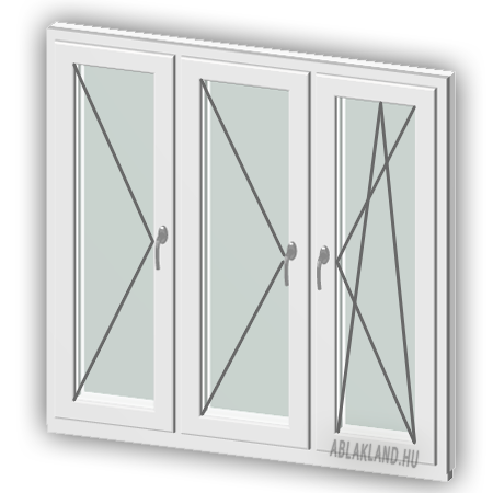 140x90 Műanyag ablak, Háromszárnyú, Nyíló+Nyíló+Bukó/Nyíló, Neo