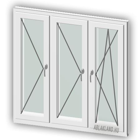 230x130 Műanyag ablak, Háromszárnyú, Nyíló+Nyíló+Bukó/Nyíló, Neo