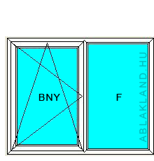 110x190 Műanyag ablak vagy ajtó, Kétszárnyú, Bukó/Nyíló+Fix, Cast.E
