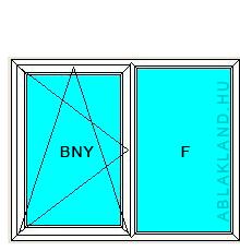 150x140 Műanyag ablak, Kétszárnyú, Bukó/Nyíló+Fix, Neo