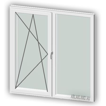 100x150 Műanyag ablak, Kétszárnyú, Bukó/Nyíló+Fix, Cast.E
