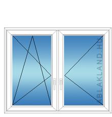 140x130 Műanyag ablak, Kétszárnyú, Bukó/Nyíló+Nyíló, Neo80