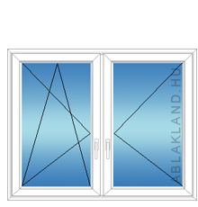 170x140 Műanyag ablak, Kétszárnyú, Bukó/Nyíló+Nyíló, Neo80