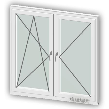 110x130 Műanyag ablak, Kétszárnyú, Bukó/Nyíló+Nyíló, Neo80