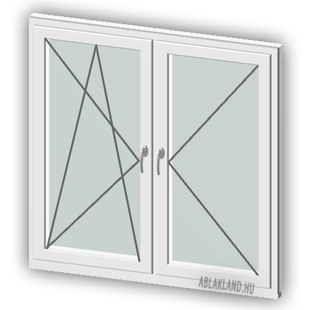 130x130 Műanyag ablak, Kétszárnyú, Bukó/Nyíló+Nyíló, Neo