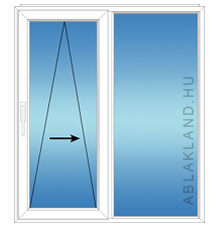150x180 Műanyag ablak vagy ajtó, Kétszárnyú, Toló+Fix, Neo