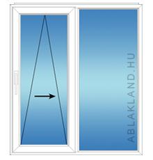 140x110 Műanyag ablak, Kétszárnyú, Toló+Fix, Neo