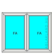110x80 Műanyag ablak, Kétszárnyú Ablakszárnyban, Fix+Fix, Neo+