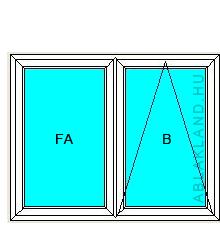 130x120 Műanyag ablak, Kétszárnyú Ablakszárnyban Fix+Bukó, Neo