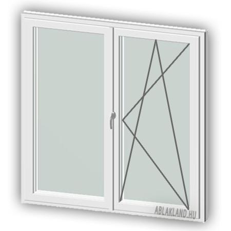 100x80 Műanyag ablak, Kétszárnyú Ablakszárnyban Fix+Bukó/Nyíló, Cast.C