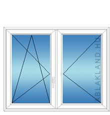 140x160 Műanyag ablak, Középen Felnyíló, Bukó/Nyíló+Nyíló, Neo80
