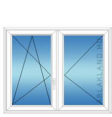 120x120 Műanyag ablak, Középen Felnyíló, Bukó/Nyíló+Nyíló, Neo Iso