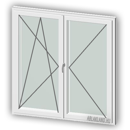 120x120 Műanyag ablak, Középen Felnyíló, Bukó/Nyíló+Nyíló, Neo80
