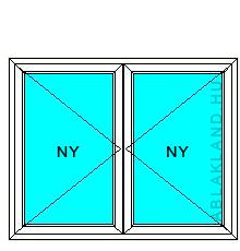 130x120 Műanyag ablak, Középen Felnyíló, Nyíló+Nyíló, Cast.E