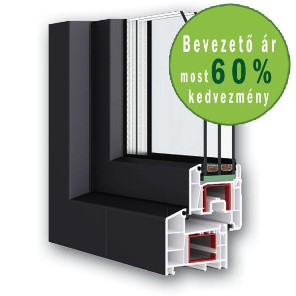 100x160 Műanyag ablak, Kétszárnyú, Bukó/Nyíló+Nyíló, Neo80