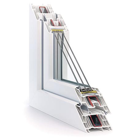 120x140 Műanyag ablak, Középen Felnyíló, Bukó/Nyíló+Nyíló, Neo Passive Rehau