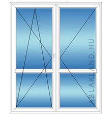 150x210 Műanyag erkélyajtó, Kétszárnyú, Bukó/Nyíló+Nyíló, Neo80