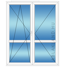 180x210 Műanyag erkélyajtó, Kétszárnyú, Bukó/Nyíló+Nyíló, Neo80